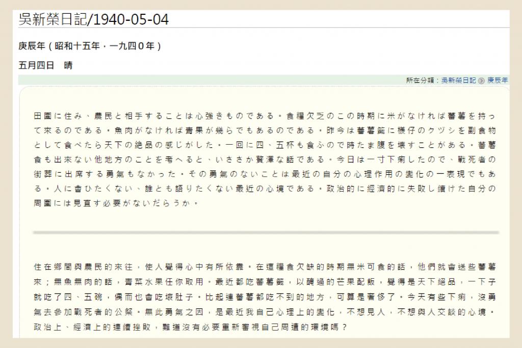 《吳新榮日記》亦寫道:「以醃過的芒果配飯,覺得是天下絕品。」 資料來源|臺灣日記知識庫