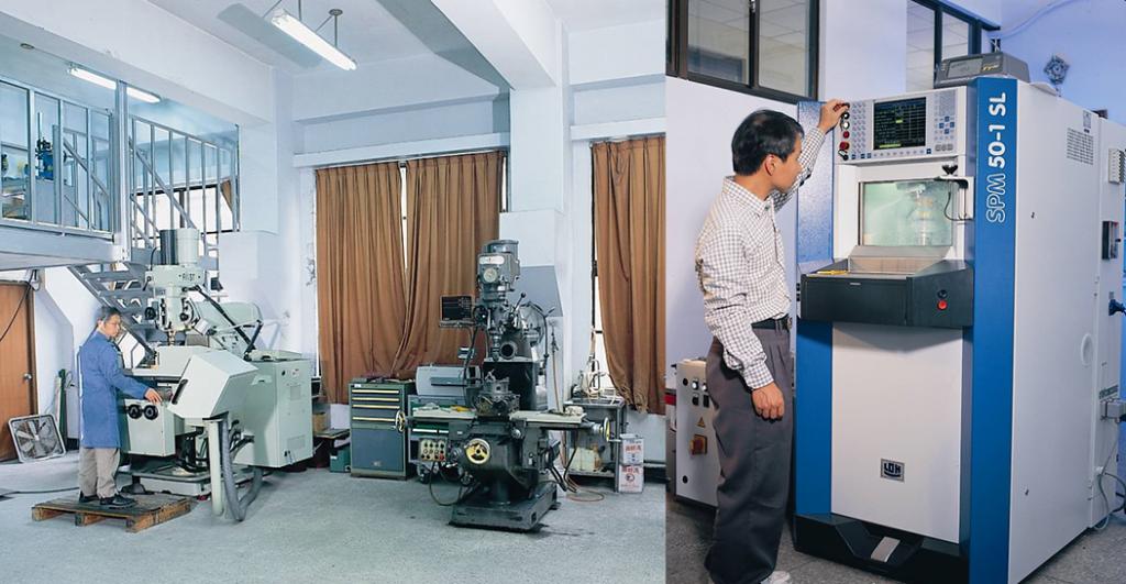 中研院原分所的 Mr.Q ─ 機械工廠(左圖)、玻璃工廠(右圖)。資料來源|林志民提供