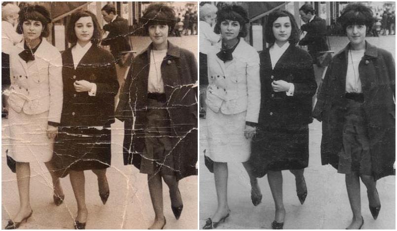 充滿歲月痕跡的老照片 (左),按一個鍵,色調不再泛黃、摺痕也消失無蹤 (右)。 資料來源|廖弘源圖說設計|黃楷元