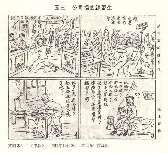 百貨公司裡的練習生──就像舊式商店的學徒,付出工資不對等的勞力,顯示出現代化下不合理的經濟制度。 圖片來源:《申報》, 1933 年 1 月 15日,本埠增刊第 2 版。