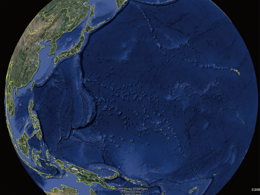 """是地球还是海球? 地球虽然叫""""地""""球,但放眼所及绝大部分是蓝色的""""海""""。图片来源│Google Earth"""