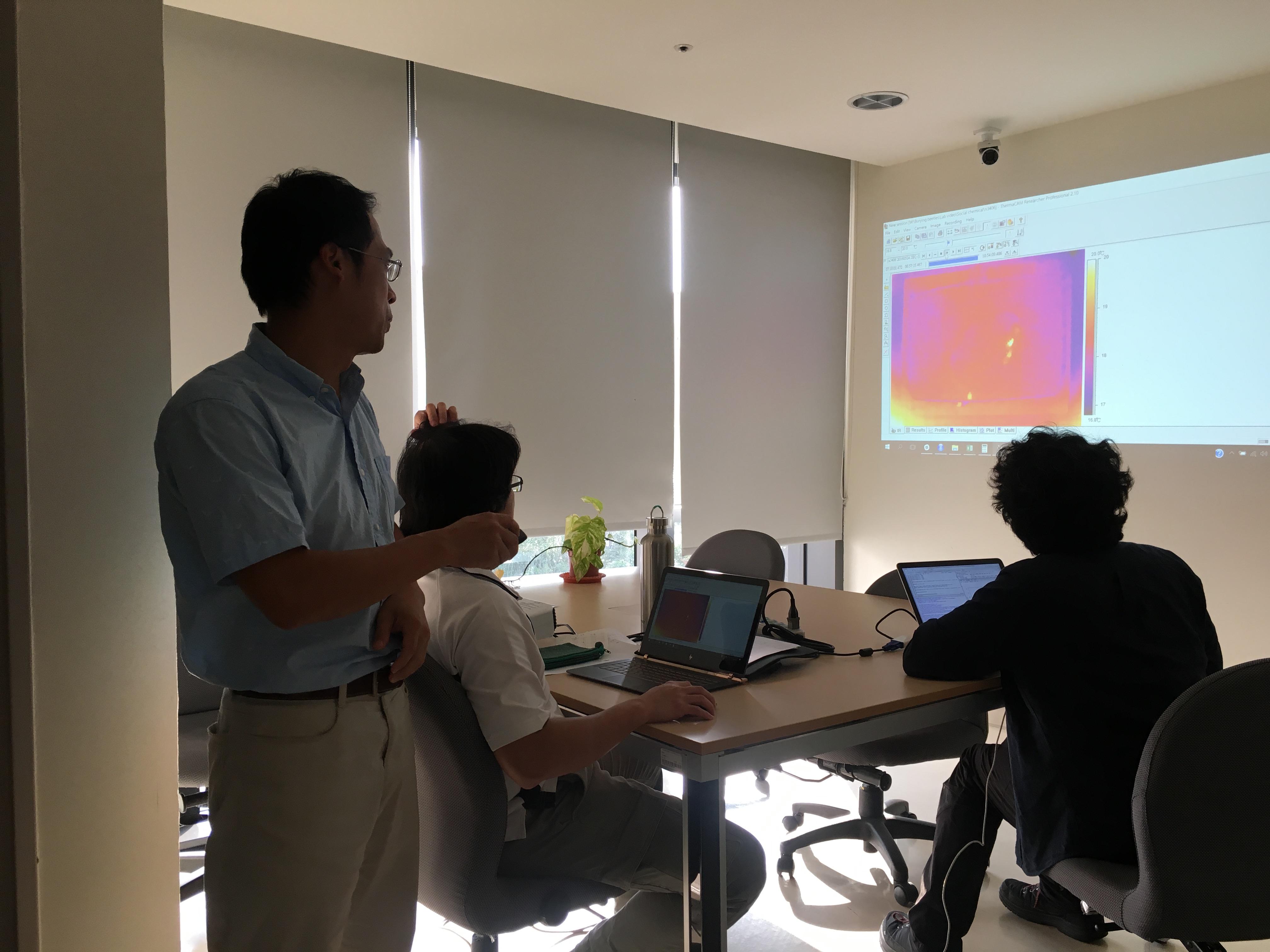 在開放空間討論實驗成果和論文寫作,是最能代表沈聖峰團隊的工作景象。圖中投影為埋葬蟲行動的熱像儀錄影。圖│研之有物