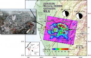 2016 年 2 月 6 日在美濃發生規模 6.6 地震,由臺灣數值地震模型之分析可知,震央(紅色星星)偏西北方有兩個錯動集中區 (Asperity,紅圈處) ,使得主要災害出現在震央西北方的臺南地區。 資料來源│李憲忠