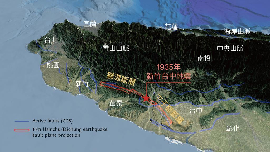 1935 年發生新竹─台中地震,由震央往南北兩方向破裂,往北是獅潭斷層,往南是屯子腳斷層。資料來源│李憲忠提供