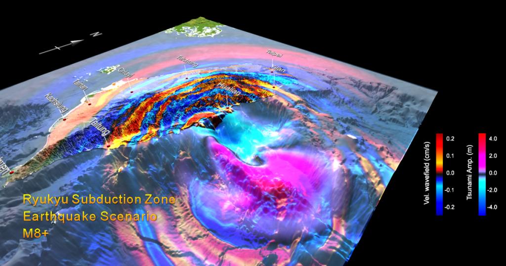 假想的琉球海溝發生規模 M8 以上的大型逆衝地震之模擬結果,包括「地震波的地表速度波長」與「海嘯的波高」二者的模擬。 資料來源│李憲忠提供