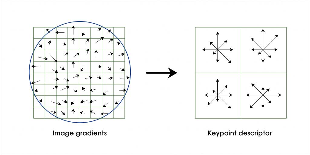 SIFT 電腦視覺演算法:先算出影像中每一個小區塊的方向性與梯度變化,再整合成各大區塊的方向性與梯度變化,降低資料的維度和雜訊,以利後續應用。 資料來源│陳彥呈提供