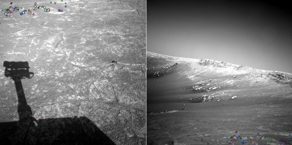 NASA 在外太空以俯視及平視兩種角度拍下火星地景,再透過 SIFT 演算法,辨認出同區域的視覺特徵 (照片中的彩色小圓圈)。圖│陳彥呈