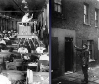 (左圖) 中間高台的人正在唸故事給工作的人們聽(右圖) 拿著竹竿敲窗戶的 morning call 服務圖│陳彥呈