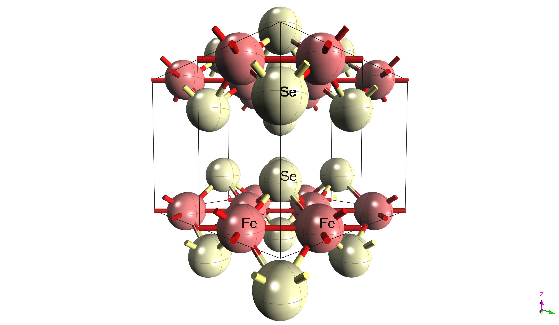 鐵硒超導的原子排列圖。鐵硒形成的二維平面結構中,「鐵的空缺」是超導特性的關鍵產生因素之一。圖│吳茂昆提供
