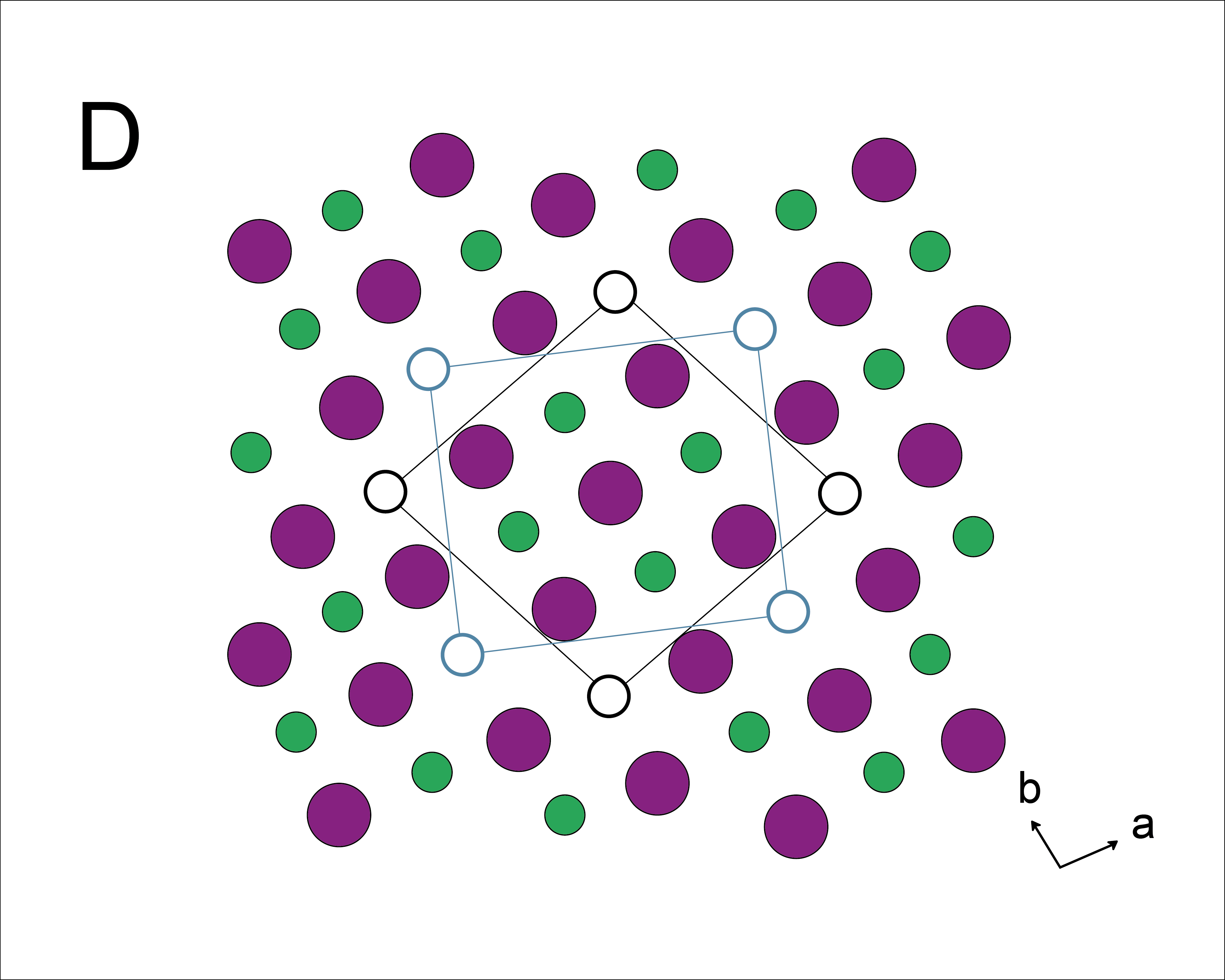 β-Fe4Se5 (一種鐵硒超導) 的單晶結構示意圖,綠色是鐵原子,粉紅色是硒原子,可以看出鐵原子有規律的空缺。圖│〈高溫超導的鐵器時代─從「銅基超導」到「鐵基超導」〉,作者:吳茂昆