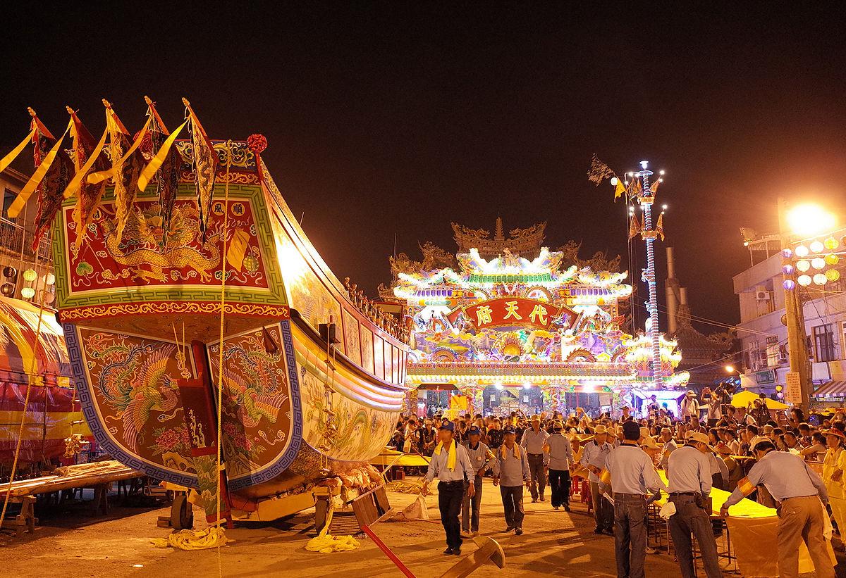 東港迎王平安祭典中的王船。圖片來源│Oliver515