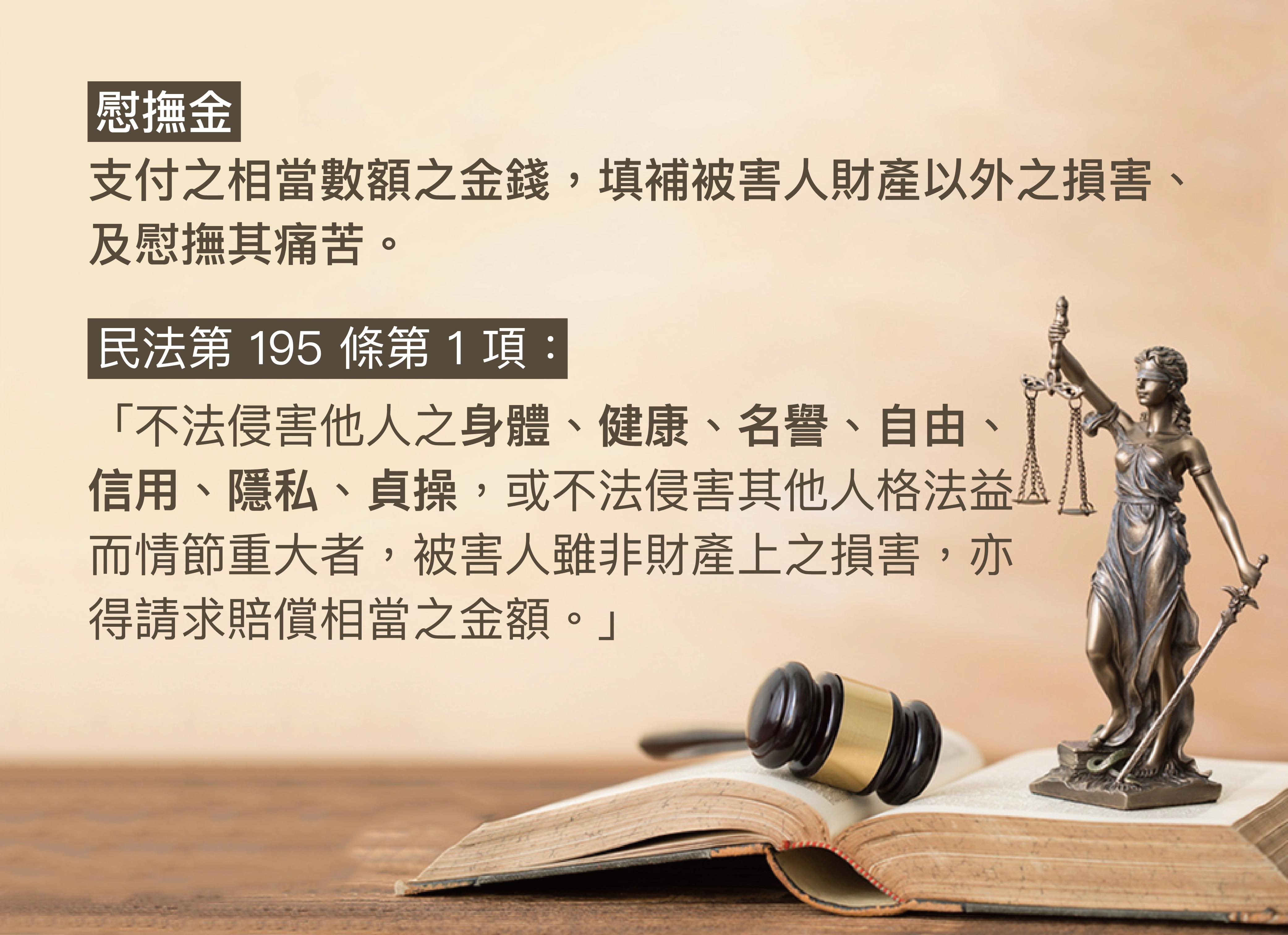 慰撫金的概念與民法規定。 資料來源│張永健 圖說設計│黃楷元、張語辰