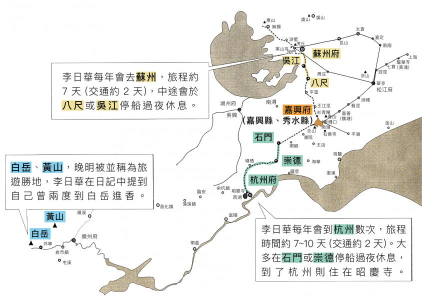 晚明作家李日華的旅遊路線圖。資料來源│巫仁恕提供 圖說重製│王怡蓁、張語辰