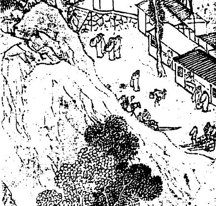 明,陸治,《支硎山圖》局部。圖右可以見到當時登山旅遊應雇的「肩輿」及「舁夫」。旅遊活動的興盛代表著國富,也製造了許多就業機會。圖│巫仁恕提供,採自《氣勢撼人──十七世紀中國繪畫中的自然與風格》