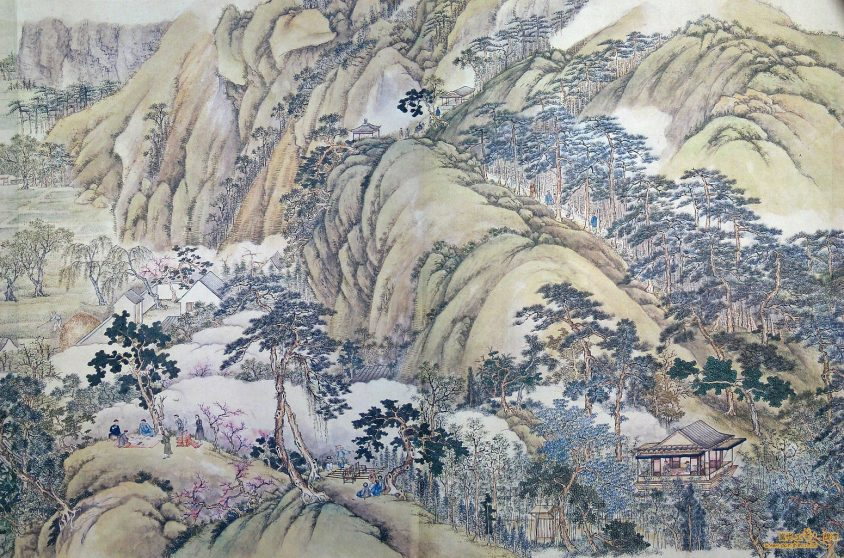 清代徐扬所绘的《姑苏繁华图》,左下角可见僮仆拿着提盒跟随文人游历山水的样貌。(资料来源/维基百科)
