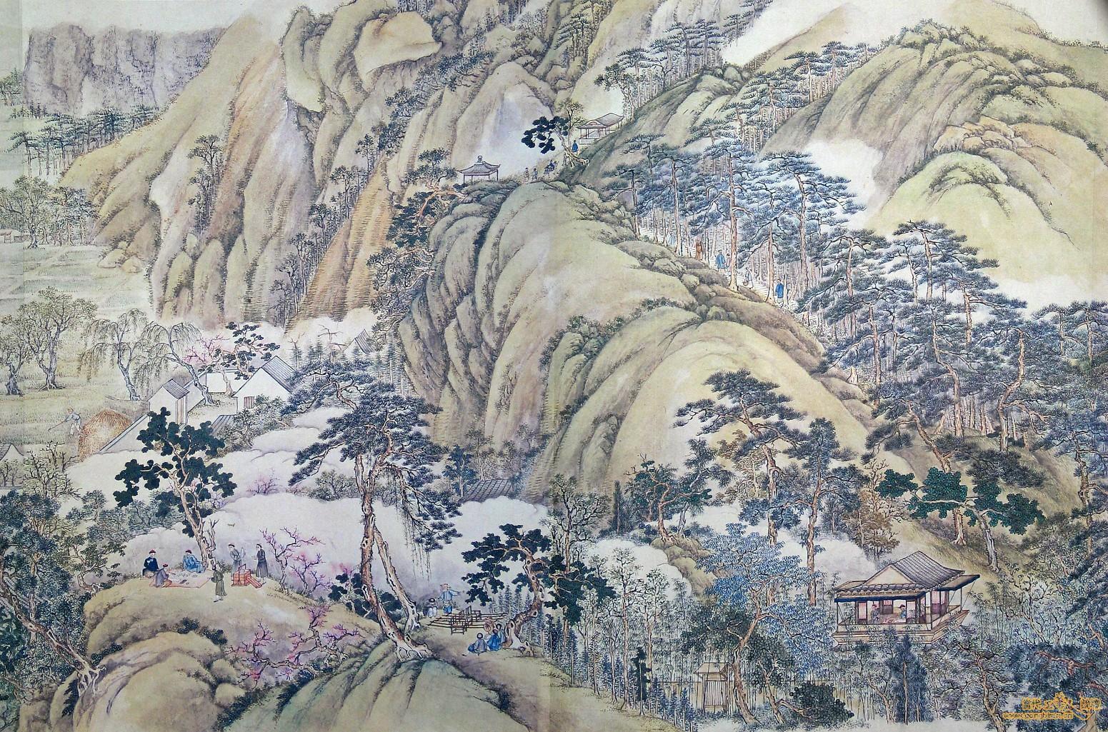清代徐揚所繪的《姑蘇繁華圖》,左下角可見僮僕拿著提盒跟隨文人遊歷山水的樣貌。 資料來源│維基百科