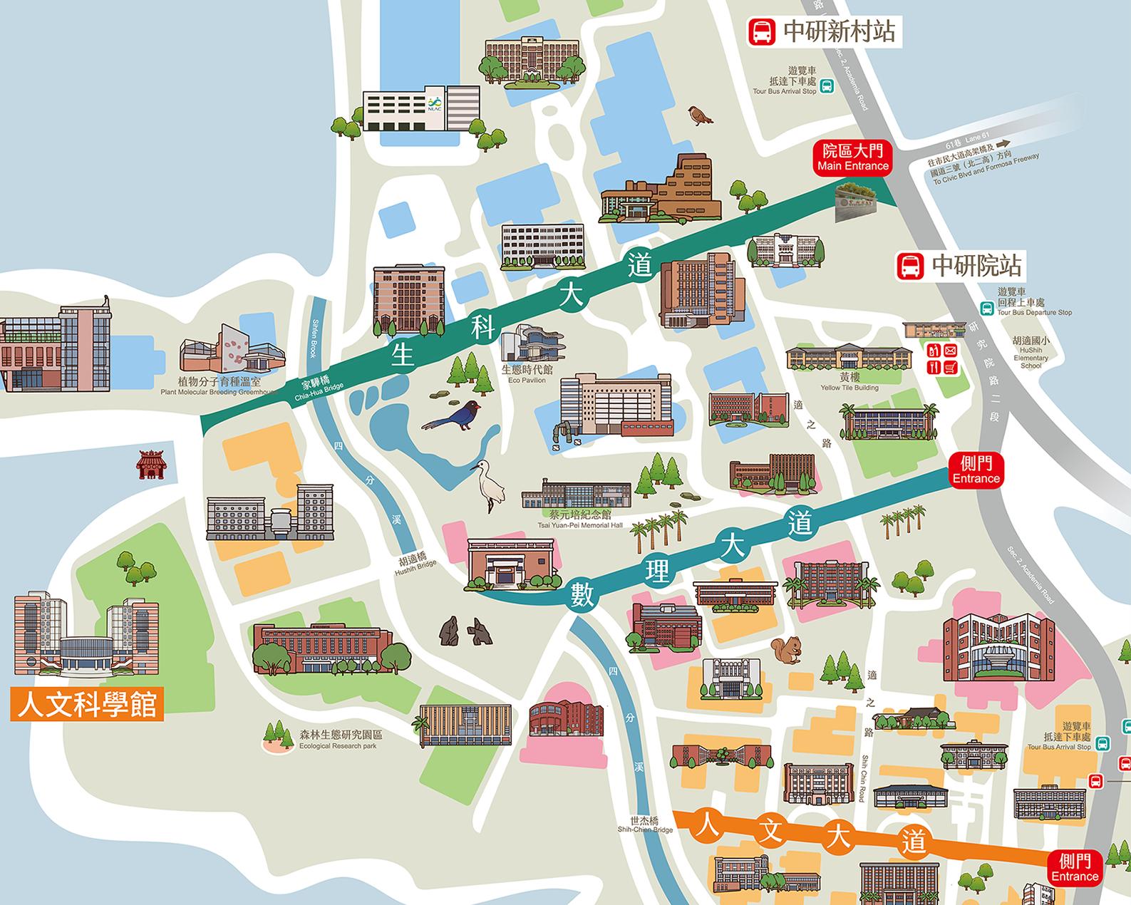 中研院有三個大門,分別對應生科大道、數理大道、人文大道。顧名思義,該領域的展館通常坐落於該大道。 資料來源│完整地圖(桌機版)、活動導覽 APP (iOS)、活動導覽 APP (Android)