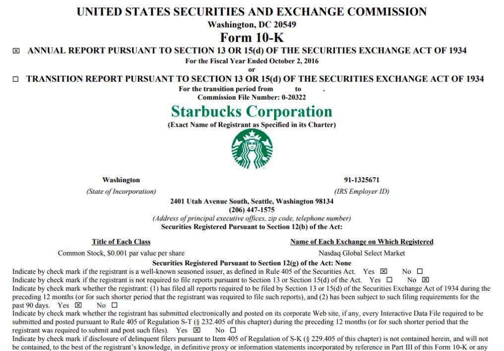 10-K 財務年報,為企業給美國證管會 (SEC) 的正式財報,內有公司運作狀況的詳細描述。 資料來源│Starbucks