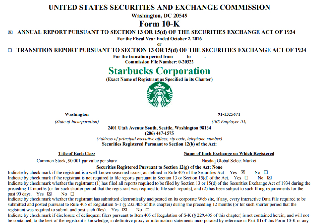 10K 財務年報,為企業給美國證管會 (SEC) 的正式財報,內有公司運作狀況的詳細描述。圖│Starbucks