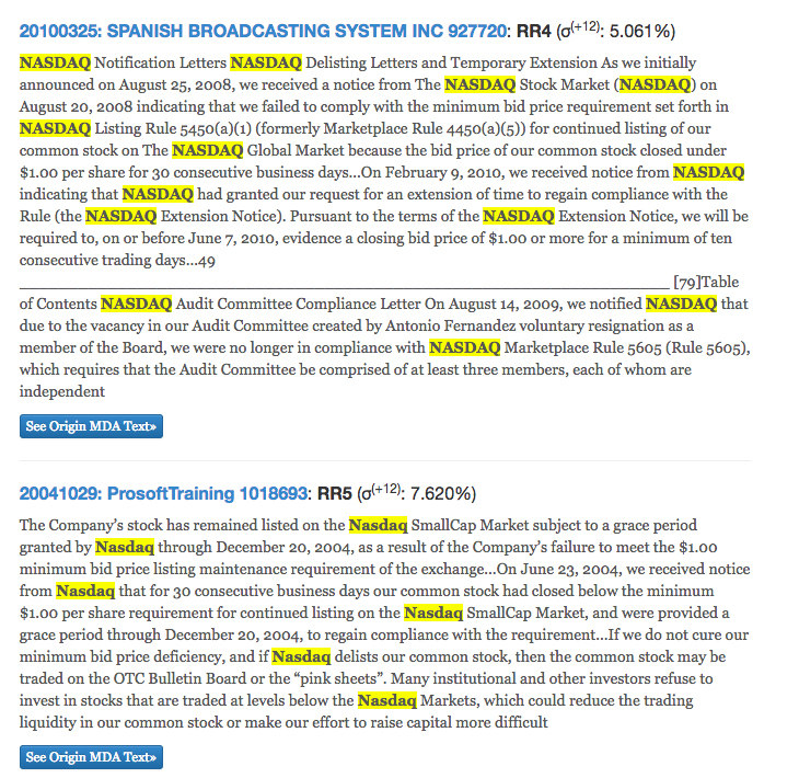 出現 Nasdaq 單字的企業財報,多為高風險等級 (RR5 或 RR4,後方括號內的百分比數值為股票報酬波動)。找找看, Nasdaq 常伴隨著 delisting 出現。 資料來源│FIN10K: Financial Reports Analysis
