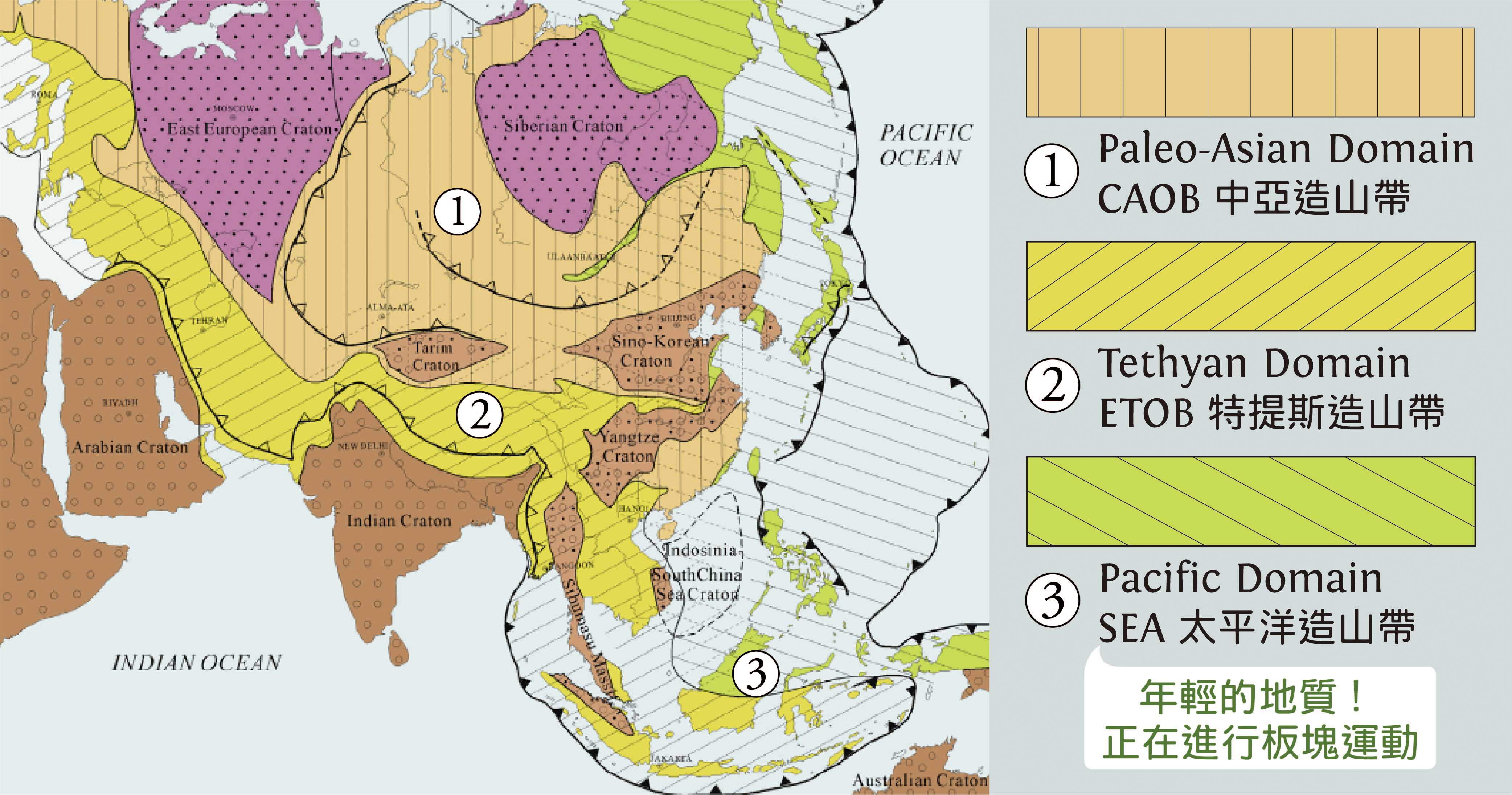 現今的東南亞正在發生造山事件,類似西藏在 6000 萬年前發生的事。 資料來源│Ren, J.S. et al. / Journal of Asian Earth Sciences 72 (2013) 3-11 圖說重製│歐柏昇、張語辰