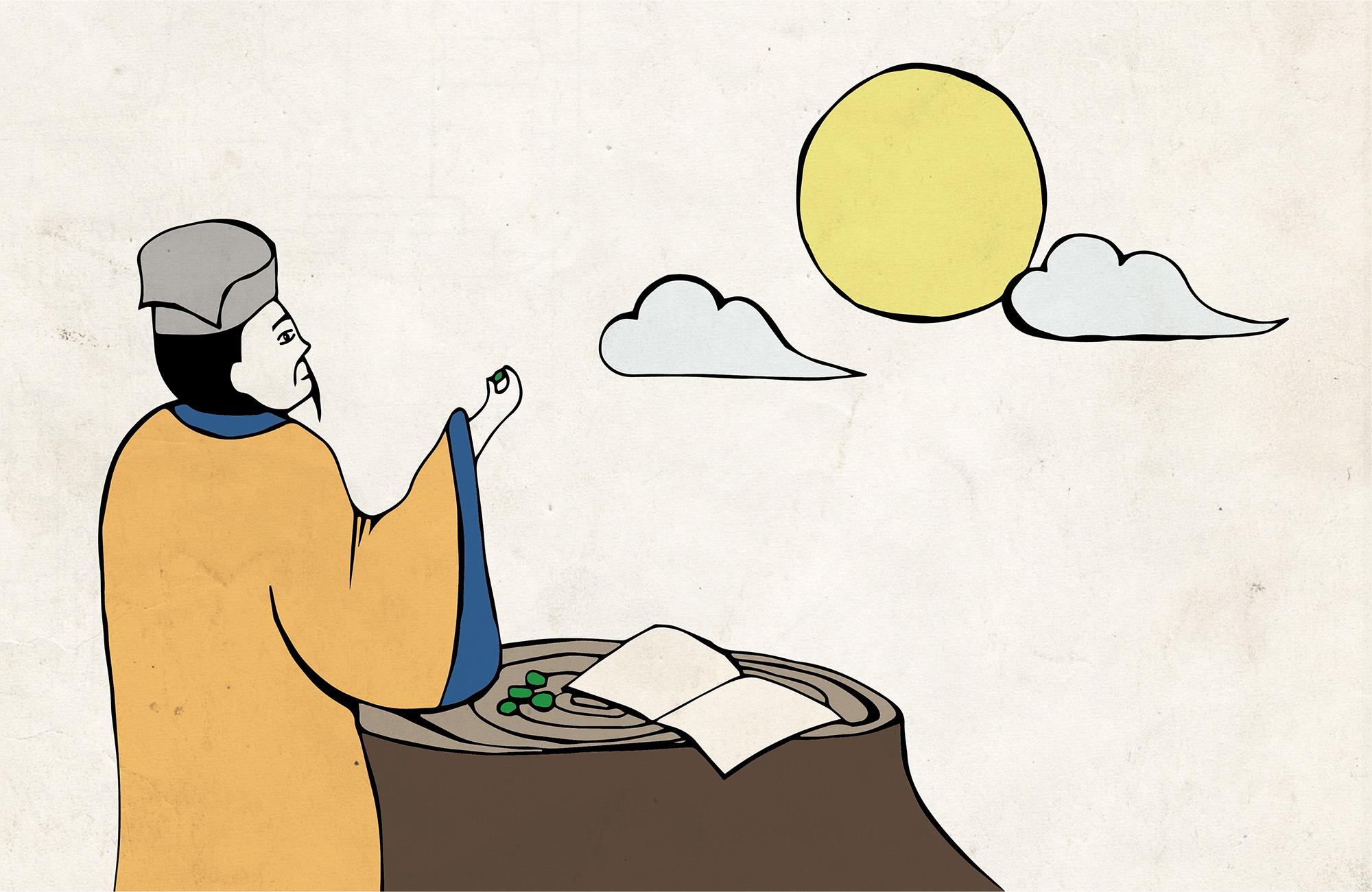 蘇軾被貶官到海南島的時候,有沒有可能在邊賞月的時候,邊吃著檳榔呢? 繪圖示意│黃楷元、張語辰