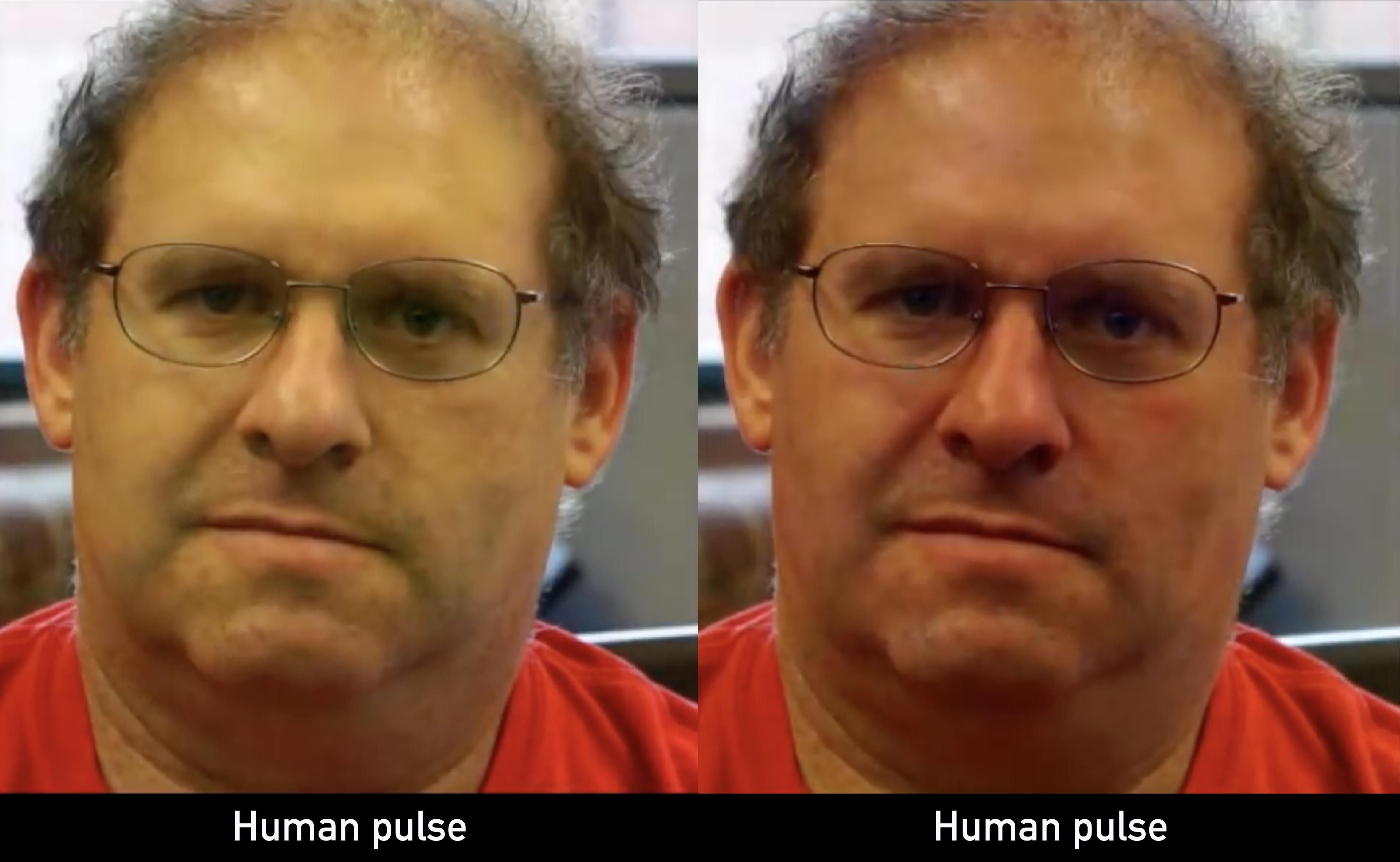 心跳訊號放大 100 倍的手機拍攝影像,可以看見當血液被打上來通過臉部,皮膚顏色明顯變紅(右圖)。 影片來源│Revealing Invisible Changes In The World