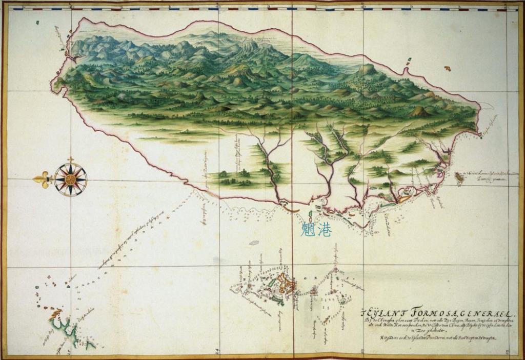 1630 年代荷蘭人 Johannes Vingboons 繪製的臺灣暨澎湖群島地圖。可看到魍港這個重要門戶。 資料來源│《解碼臺灣史 1550-1720 》,翁佳音、黃驗提供