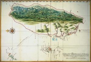 1630 年代荷蘭人 Johannes Vingboons 繪製的臺灣暨澎湖群島地圖。可看到魍港這個重要門戶。圖│《解碼臺灣史 1550-1720 》,翁佳音、黃驗提供