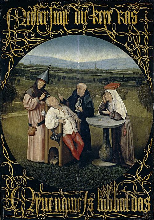 荷蘭畫家 Hieronymus Bosch 的畫作:《愚蠢療法》,描繪當時理髮師替病人進行開腦手術,諷刺當時醫學不發達的荒唐行為。圖│《解碼臺灣史 1550-1720 》,翁佳音、黃驗提供