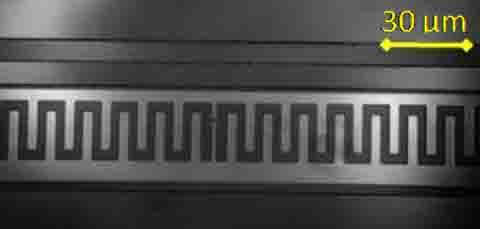 顯微鏡下的「量子電子位元晶片」,尺寸約為一根頭髮的寬度,而其核心部分約是頭髮寬度的千分之一。 圖片來源│陳啟東提供