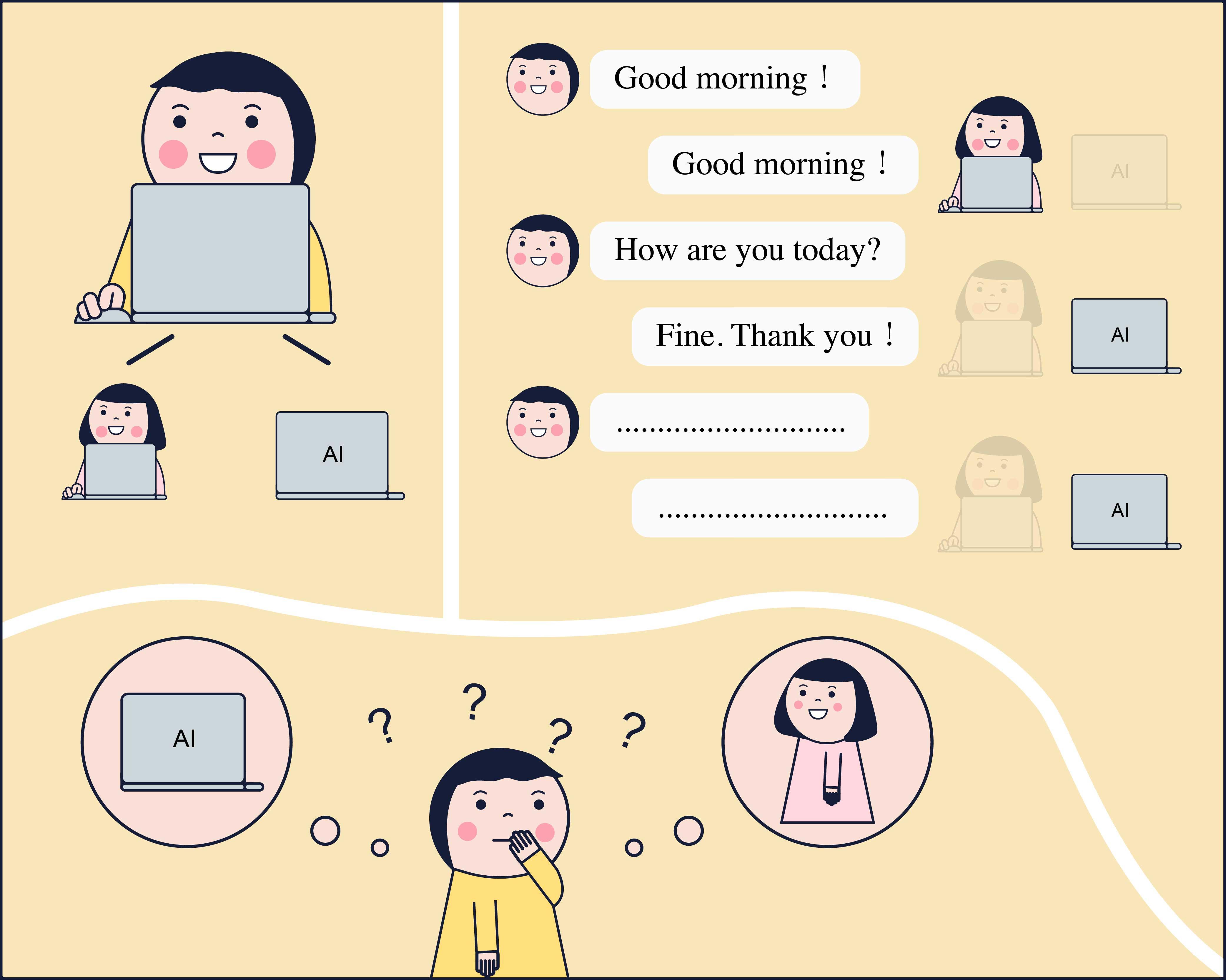 「涂林測試」是利用電腦模仿人類交談的遊戲,來判斷機器是否像人一樣有思考能力。 圖片重製│張語辰