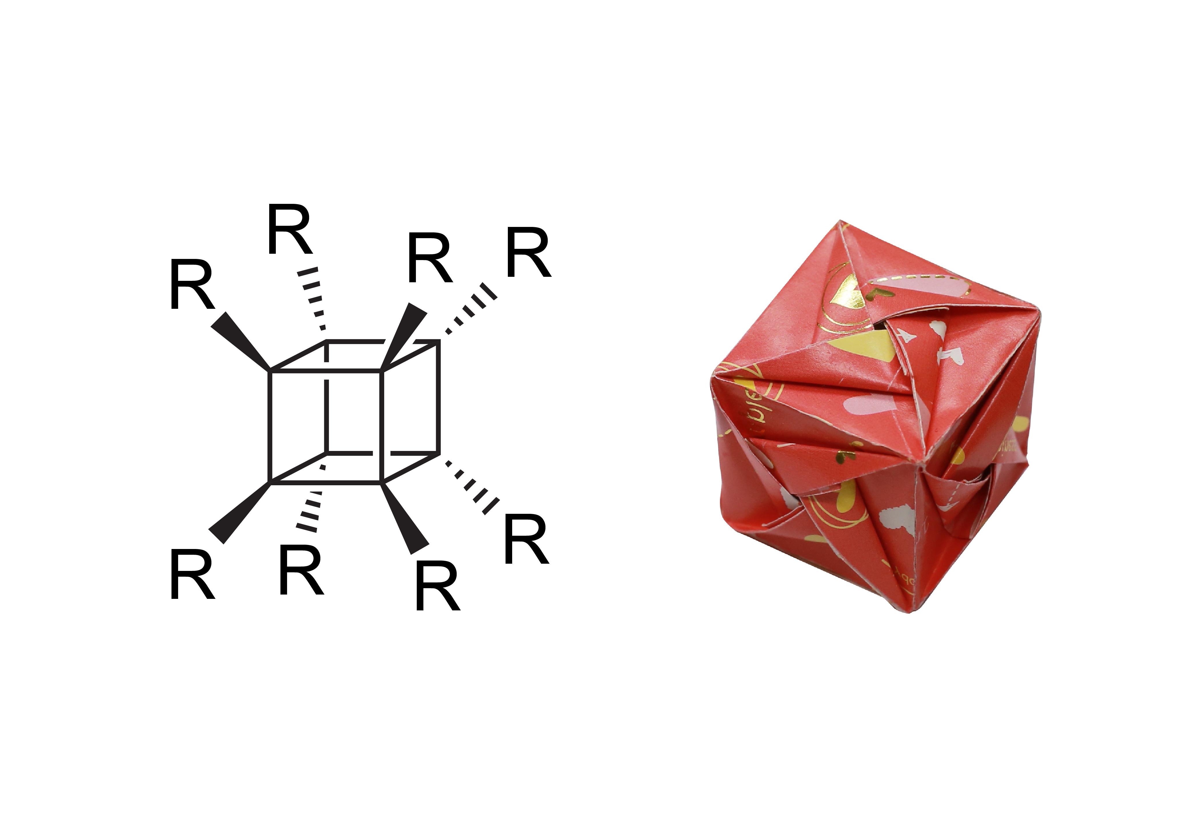 若 R = H,則為立方烷。立方烷由人工合成,呈現正四方體,如摺紙所示。八個頂點都是碳原子,並各自接了一個氫原子。若 R = NO2,則為八硝基立方烷。同樣是正四方體,除了 90 度的角張力較大,八個頂點還各接上一個易爆的硝基官能團 (-NO2) ,因此爆炸能量非常強。圖│研之有物(資料來源│Wikipedia;摺紙示範│洪上程)