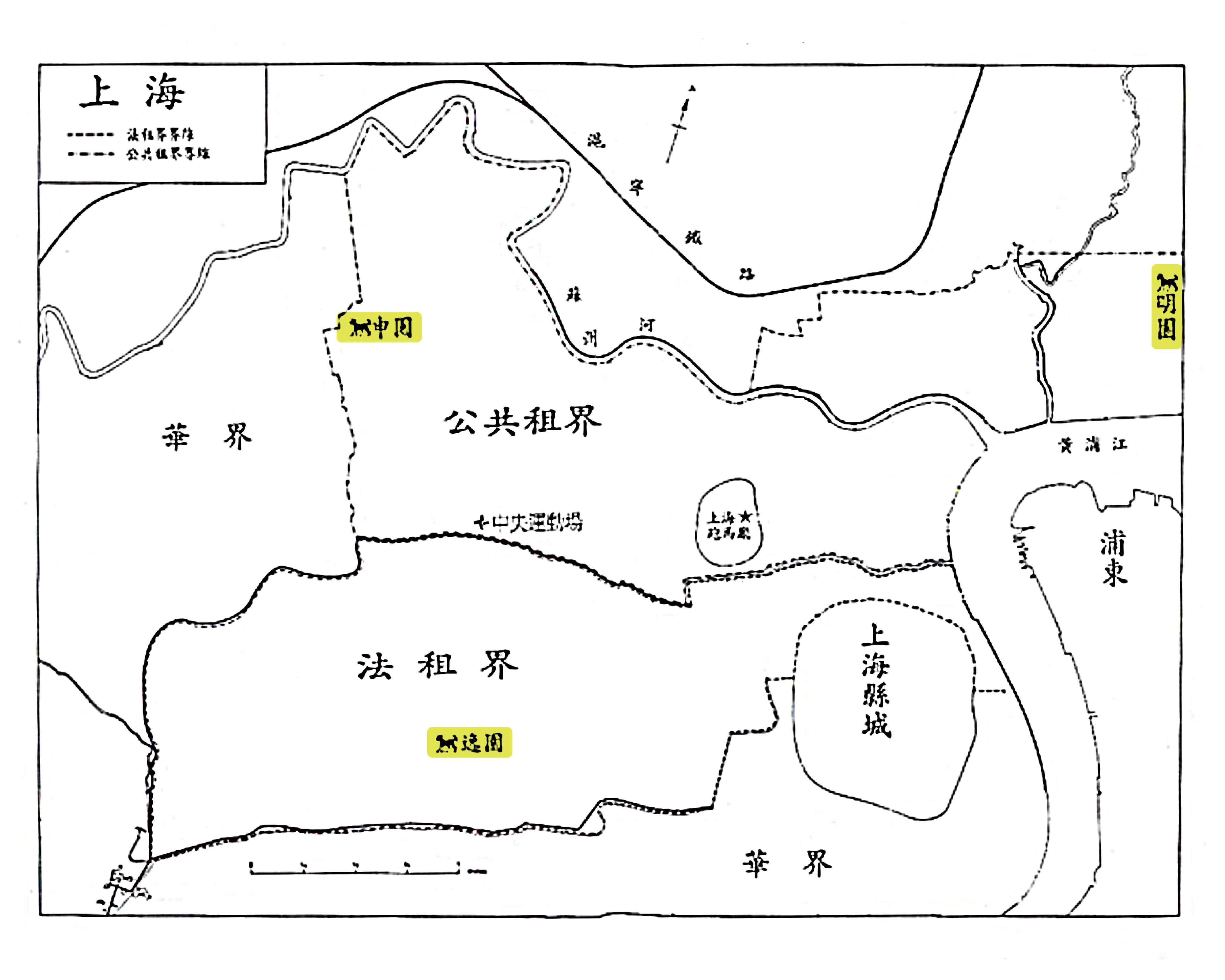 1928 年,上海的三個跑狗場:明園、申園與逸園 資料來源│張寧,2003年12月,〈是運動還是賭博?:跑狗論述與現代上海的成型,1927-1933〉
