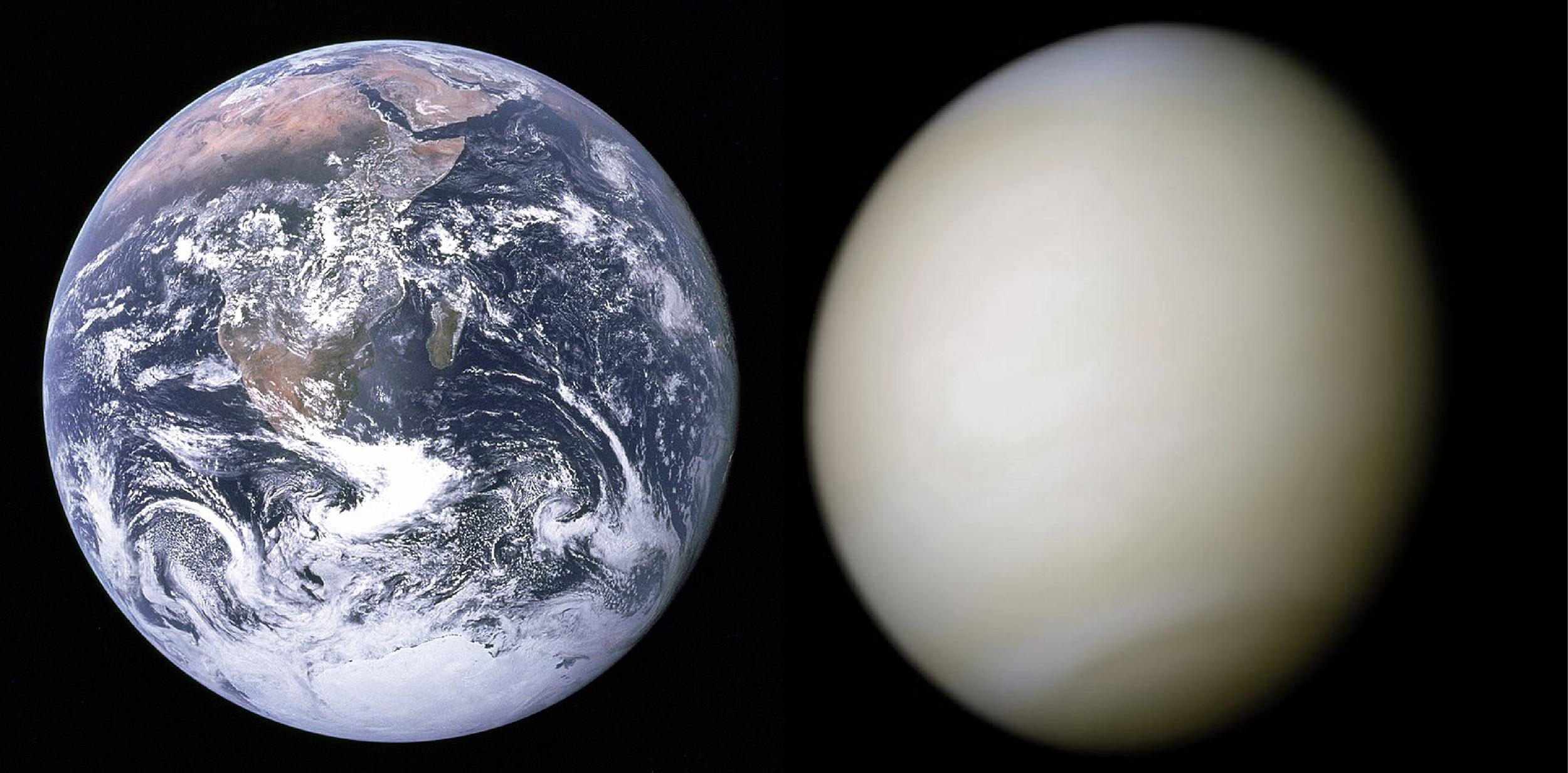 (左圖)地球的雲是白色的,雲的厚度較沒那麼厚。(右圖)金星表面被厚厚的硫酸雲遮蓋,雲的顏色較沒那麼白。 圖片來源│NASA(地球)、NASA(金星)