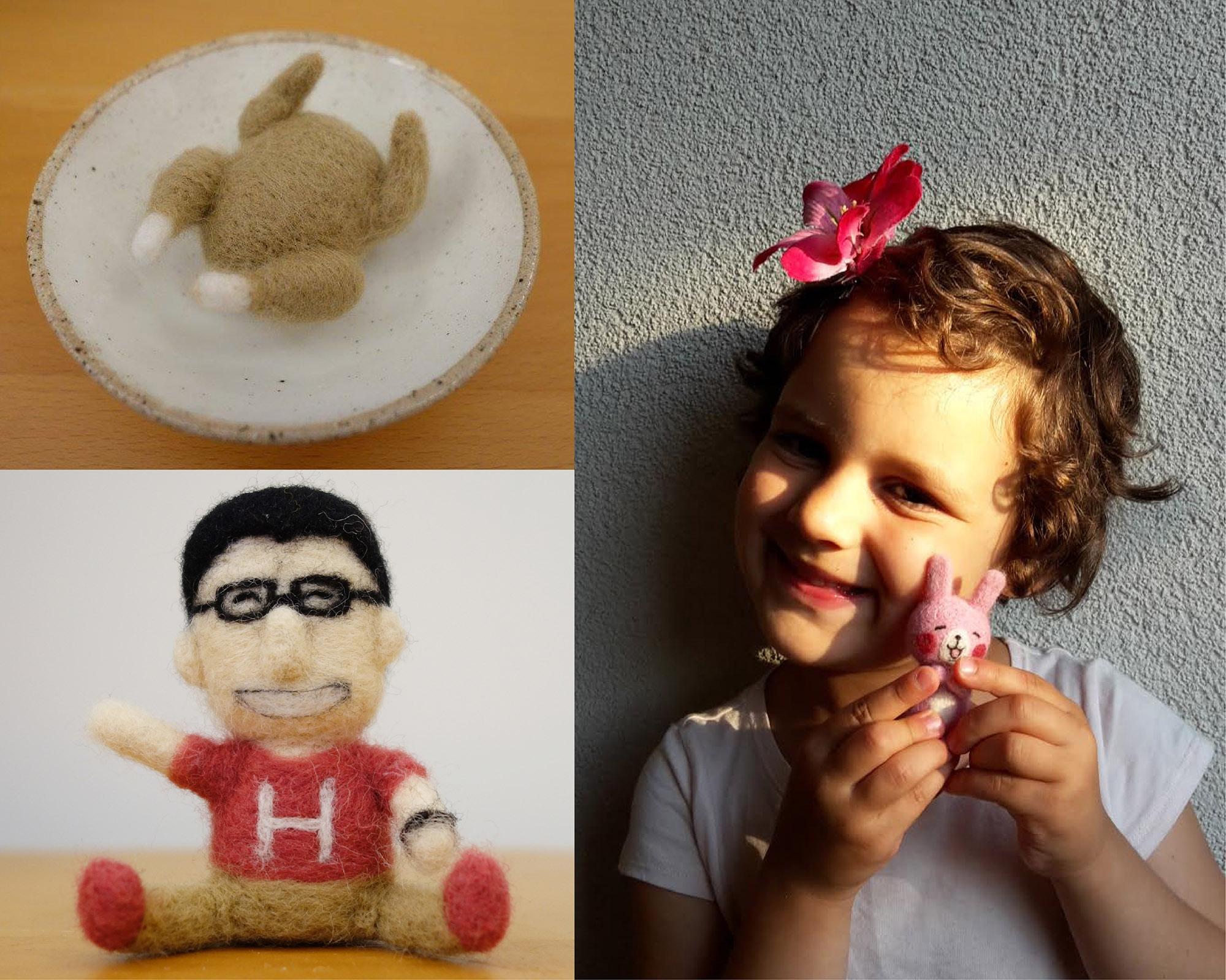 許育進在研究之餘製作的羊毛氈:慶祝感恩節的火雞、自己的 Q 版化身、送給國外學者女兒的小兔子。圖│矮酥酥手作羊毛氈