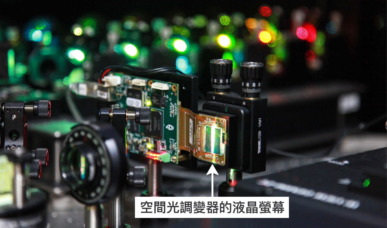 陳壁彰團隊利用「空間光調變器」,可操控液晶螢幕上的圖形,讓雷射光穿過、製造出數百條貝索層光。圖│廖英凱