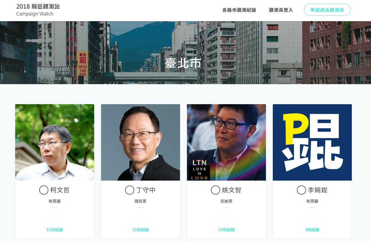 以臺北市為例,可上傳或瀏覽各位候選人的競選宣傳紀錄。圖│2018 競選觀測站
