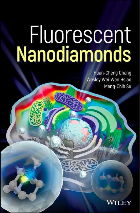 張煥正團隊著作的英文專書,介紹螢光奈米鑽石在生醫、物理、化學、天文等不同面向的應用與發展, 2018 年 11 月發表。 圖片來源│Google books