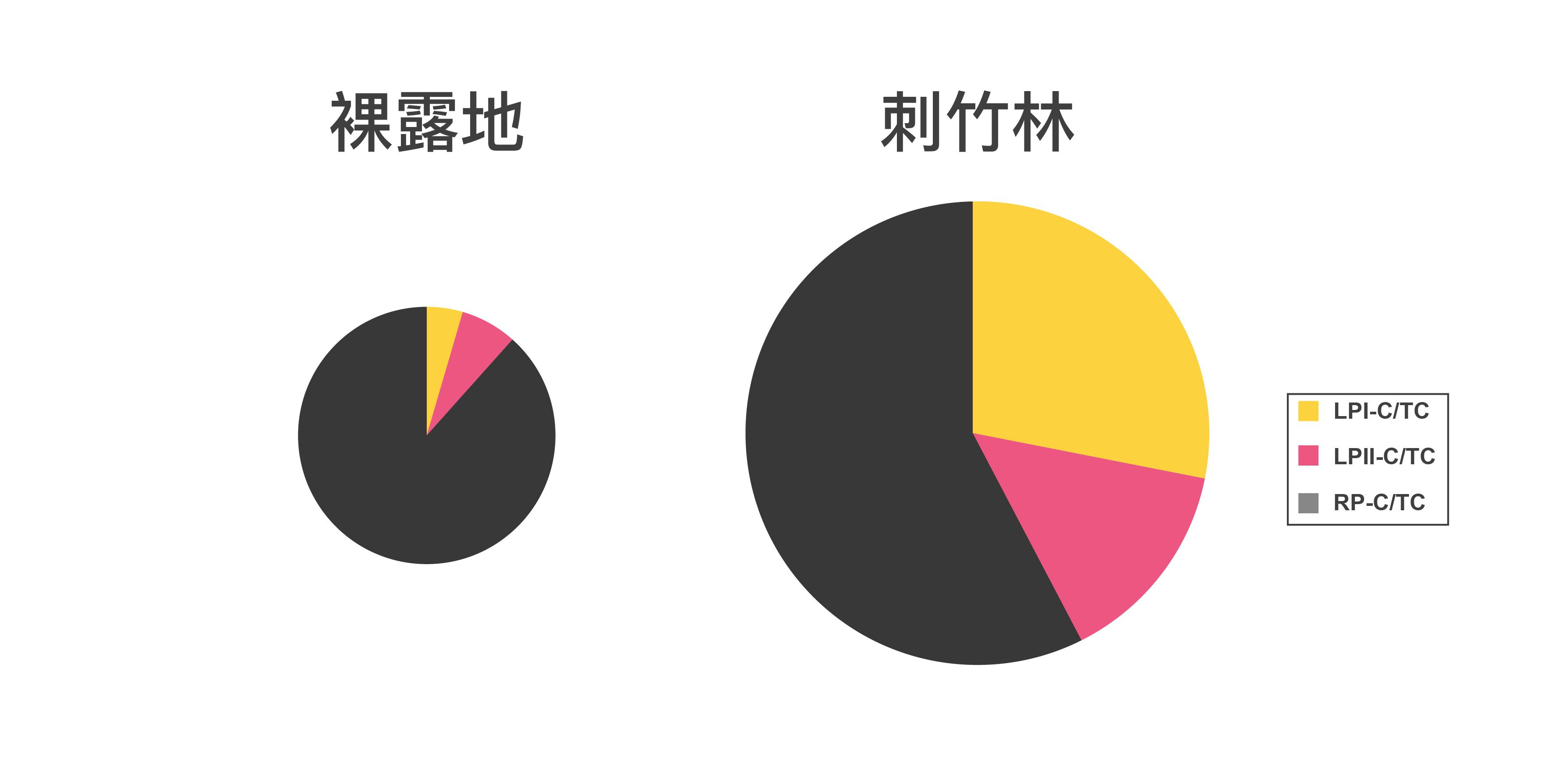 """刺竹林有助於累積惡地土壤有機態碳含量(整個圓餅面積大小),尤其是增加易分解有機物組成比例(粉紅和黃色部分)。圖│研之有物、廖英凱(資料來源│Shiau, Y.-J., Wang, H.-C., Chen, T.-H., Jien, S.-H., Tian, G., and Chiu, C.-Y.*, 2017, """"Improvement in the biochemical and chemical properties of badland soils by thorny bamboo"""", Scientific Reports, 7, 40561.)"""
