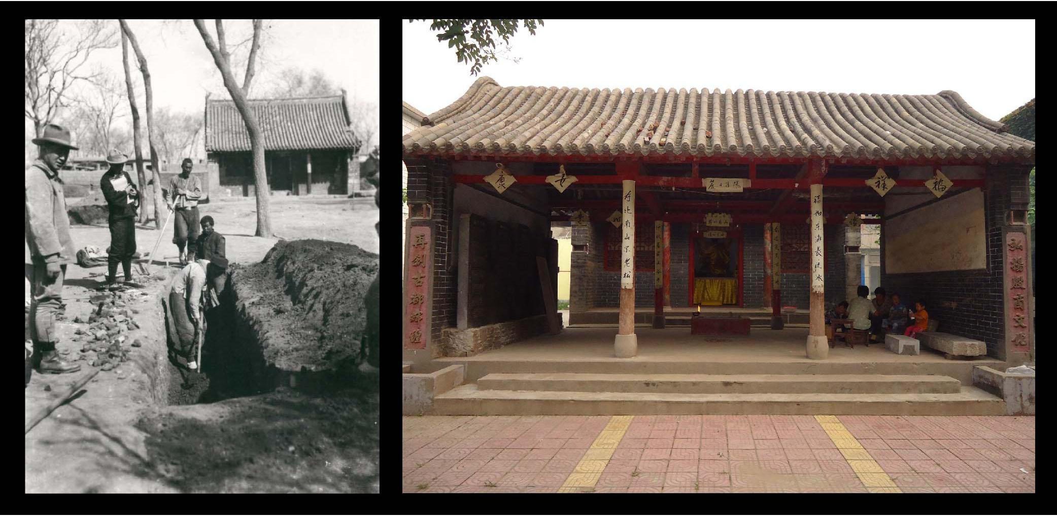 左圖為 1932 年史語所考古人員在五聖廟前的發掘,右圖為 2018 年王舒俐攝於五聖廟。圖片來源│中央研究院歷史語言研究所藏品、王舒俐