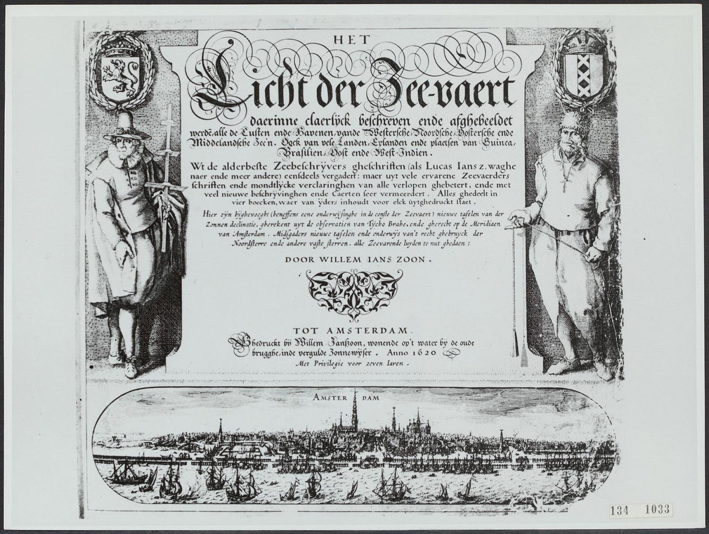 左邊是測量緯度的航海士,右邊是拿著測深錘的水手。 資料來源│NL-HaNA, RVD Eigen Afdrukken, inv.nr. 134-1033. ,圖片取自 Het Licht der Zeevaert (航海之光),歐洲北海航海書的封面