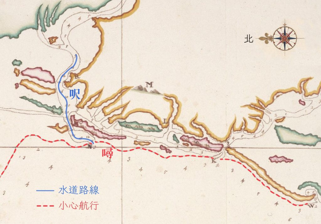 海圖標示的數字,在海岸外圍是以「噚」來計算。而到了海灣內,水道的高低落差變小,就改以較細緻的「呎」來標記。畫虛線處(紅線標示)是會觸底的沙洲範圍,提醒船隻小心行駛。(編註:本文的呎指「荷呎」,荷呎規格當時並未統一,如萊因呎為 31.4 公分、阿姆斯特丹呎為 28.3 公分,採用何種標準視測量人員手頭工具與偏好而定。) 圖片來源│Map of the Western Coast of Taiwan(部分), Johannes Vingboons, Atlas Blaeu, Vol. 41:08, Fol. 54-55. 感謝奧地利國家圖書館(Österreichische Nationalbibliothek)授權使用。 圖說重製│林婷嫻、林洵安