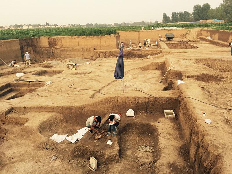 當代安陽考古的發掘照片。圖│王舒俐,攝於 2017年殷墟現址