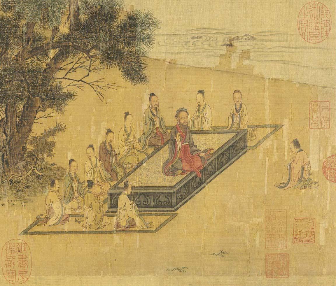孔子居中講學,曾子長跪問孝。可以看到其他人都是席地而坐。圖│宋高宗書孝經馬和之繪圖 冊 開宗明義章(畫),取自國立故宮博物院