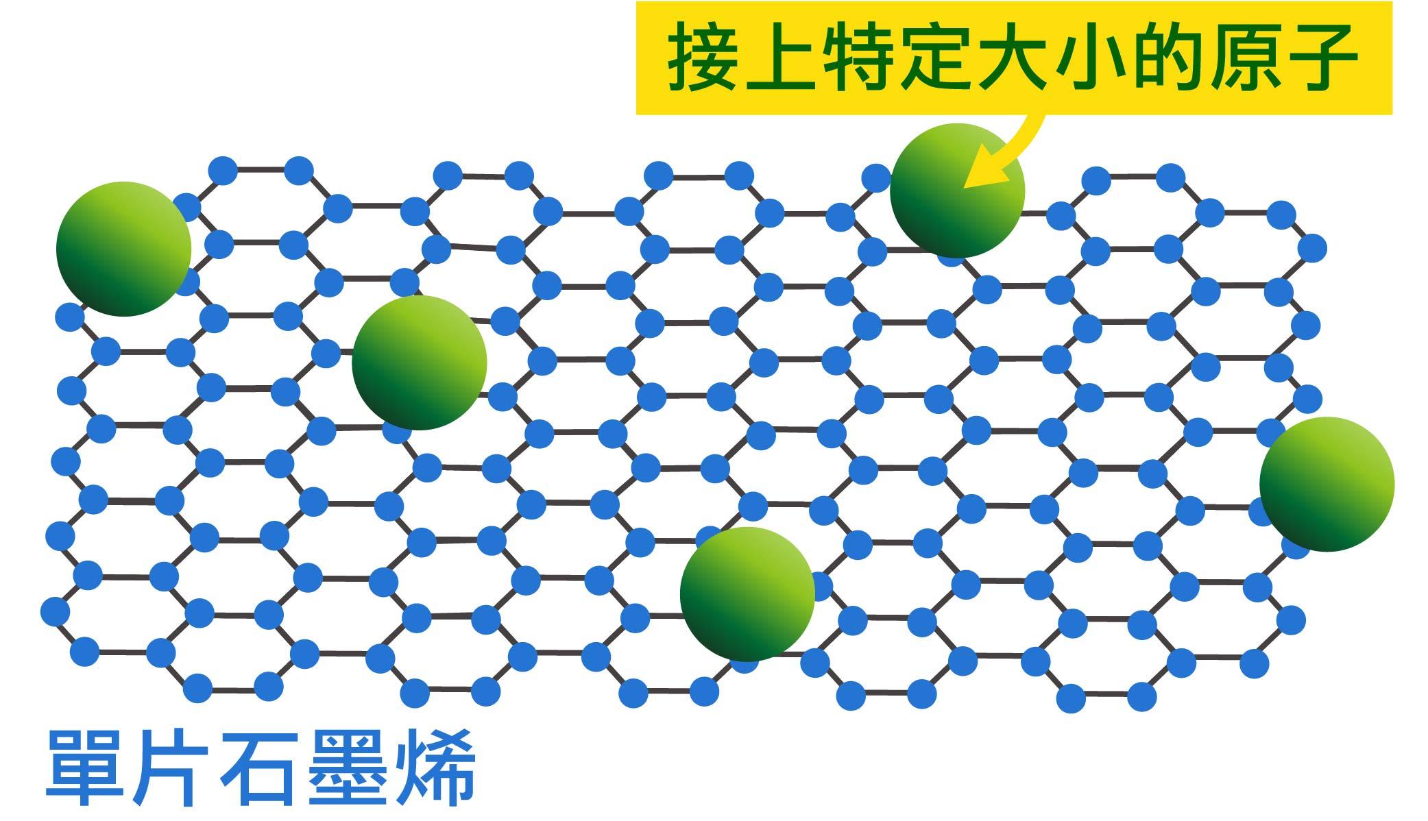 看元素周期表,就能知道不同原子的大小,並依據理論計算,在單片石墨烯接上指定大小的原子,例如氮原子、氧原子。 資料來源│顏宏儒圖說設計│林婷嫻、林洵安