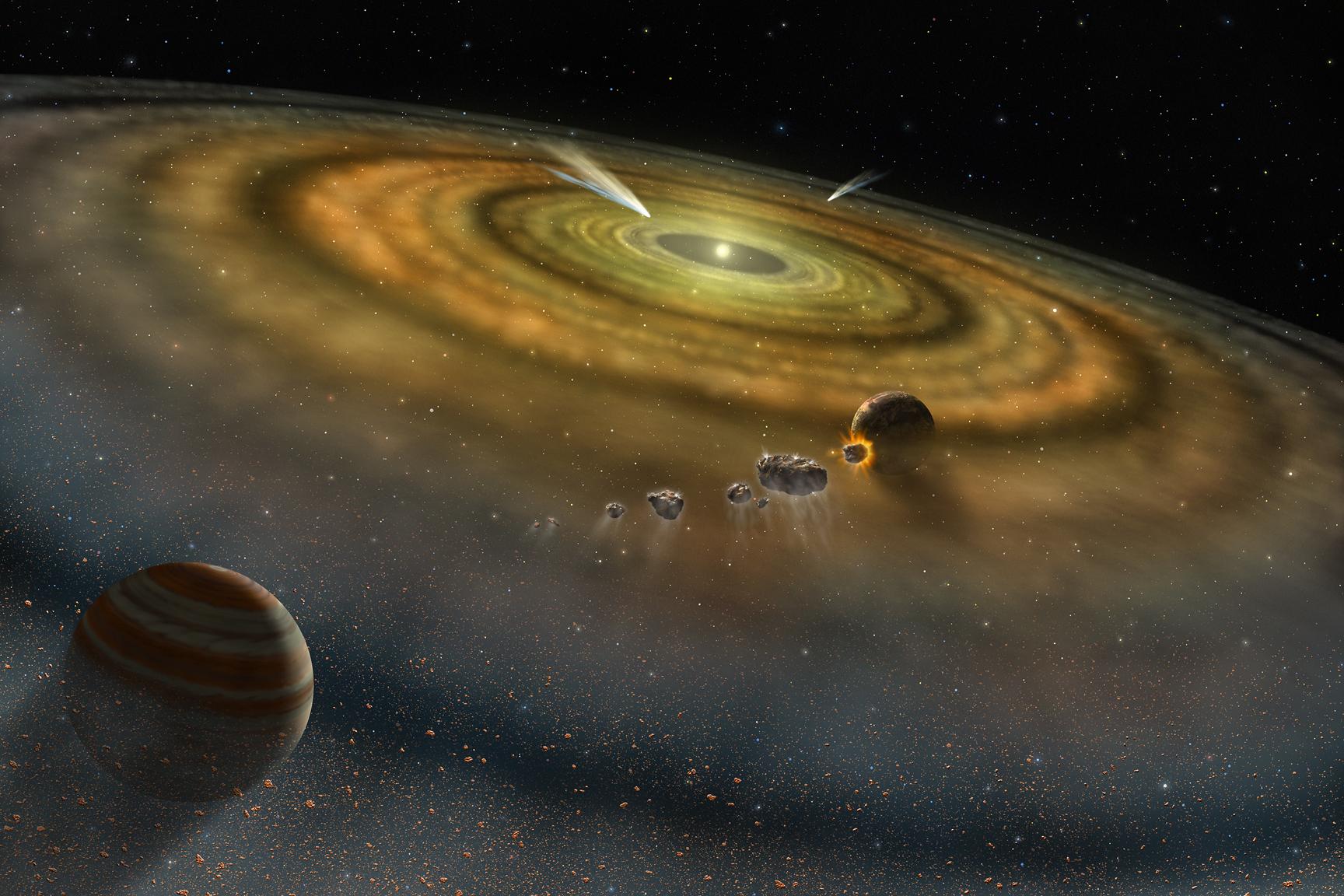 太陽系形成的初始條件,決定了整個太陽系的角動量總和。所有天體藉由互相撞擊,交換彼此的角動量,各自分得一部份「家產」。圖片來源│NASA