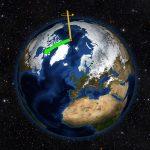 地球的北極點從來都不安份,從1900年開始,北極點已經朝向美國東部方向 (圖中綠色箭頭方向,但尺度是被大大誇張了) 漂移十多公尺。圖片來源 │NASA