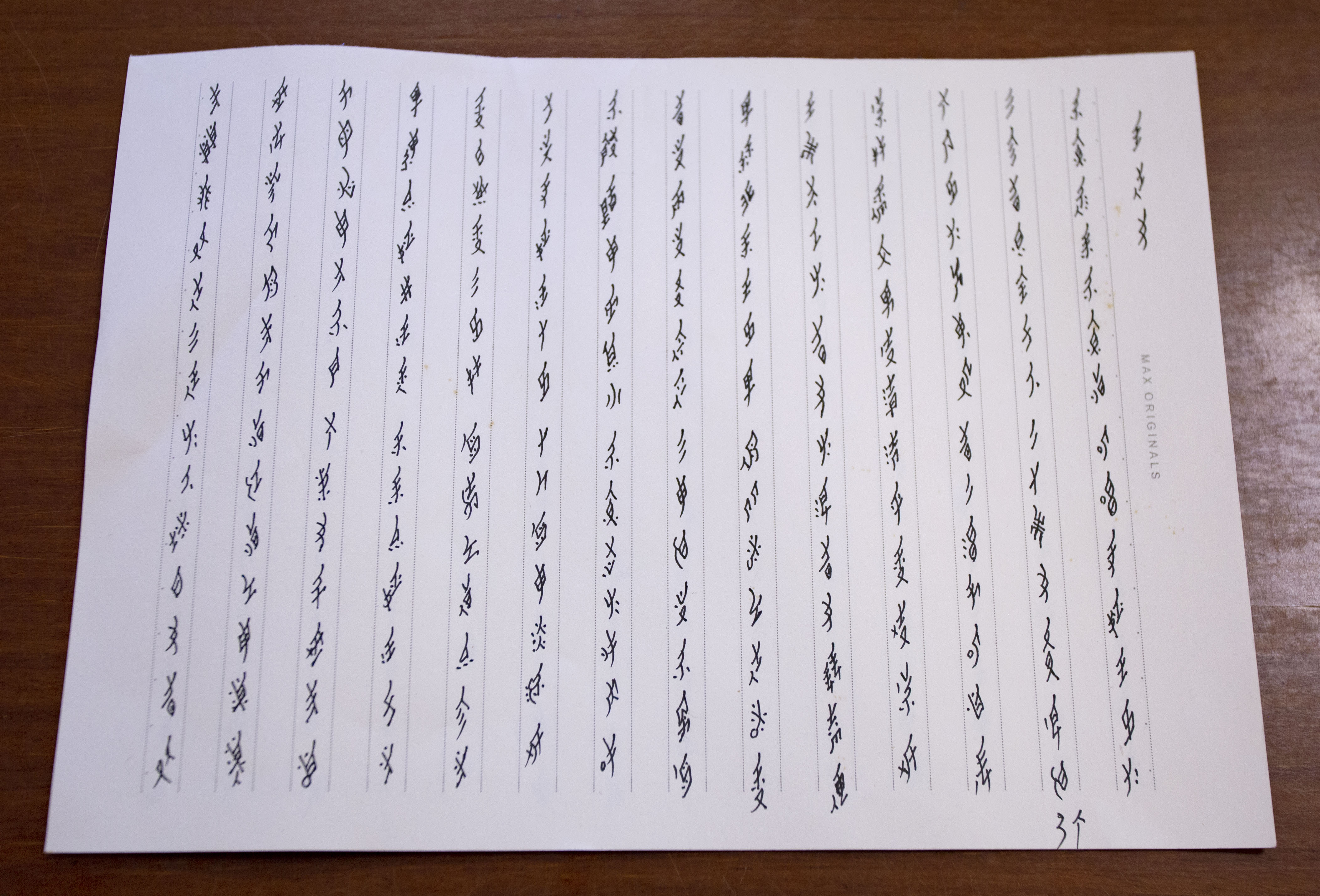 女書為五言或七言詩歌體,由上而下、由右而左書寫,沒有標點符號。內容主要為婦女的自抒創作,也有部分是轉譯漢字唱本例如《孟姜女》。圖│研之有物