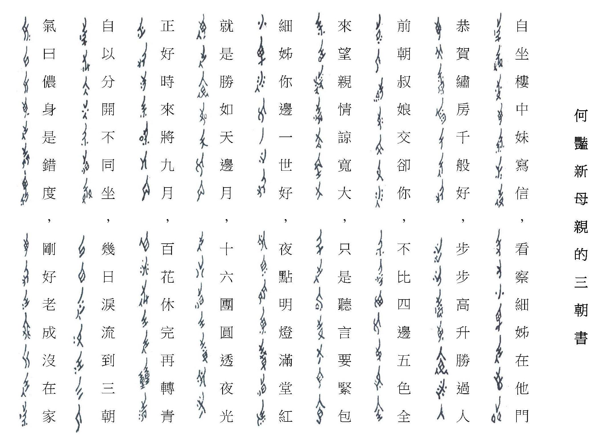 女書與漢字的對照圖片來源│劉斐玟